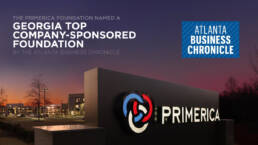 Photo of a Primerica sign outdoors in then evening