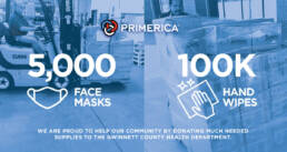 Primerica donated 5,000 medical masks and 100,000 alcohol wipes to the Gwinnett County Health Department this week.